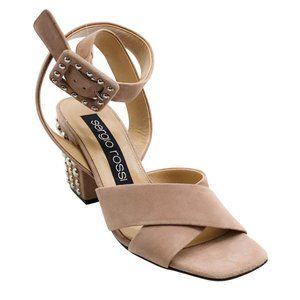Sergio Rossi Blush Elettra 75 Studded Sandals
